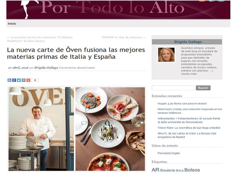 a nueva carte de Ôven fusiona las mejores materias primas de Italia y España.