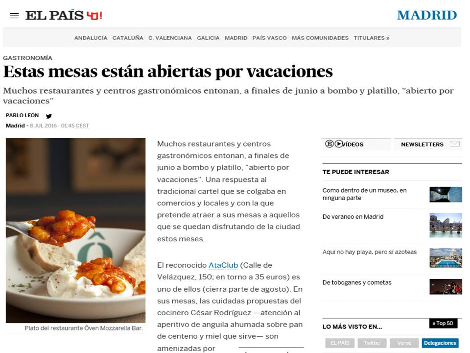 El Pais. restaurante italiano abierto por vacaciones