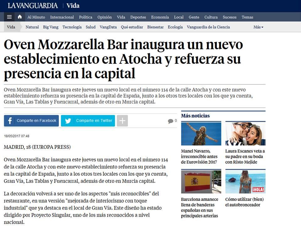 La-Vanguardia Oven Mozzarella Bar inaugura un nuevo establecimiento en Atocha