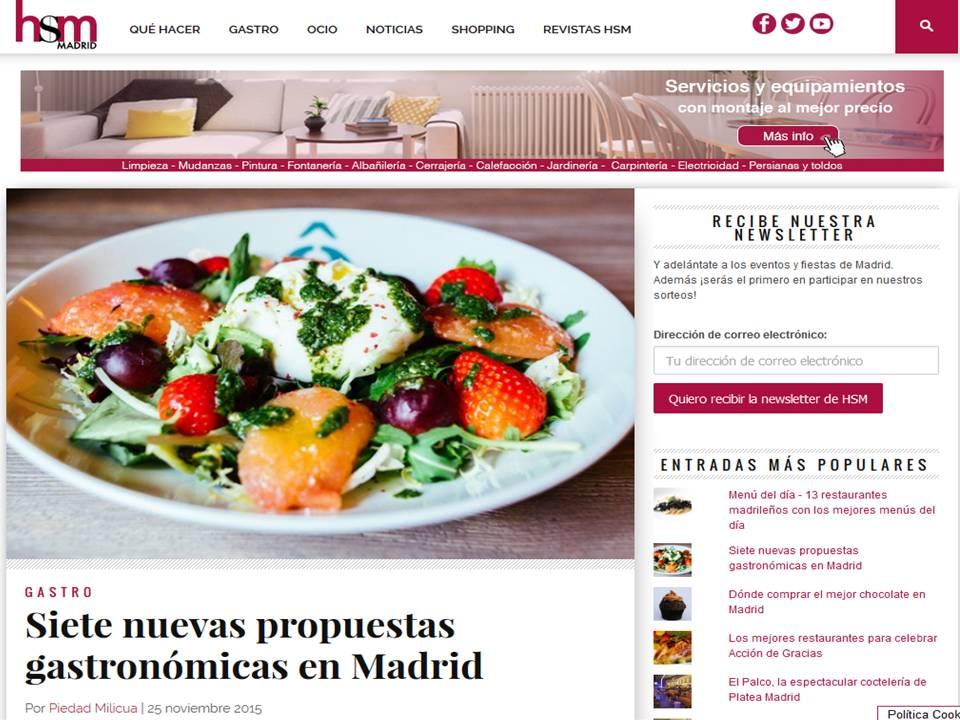 Siete nuevas propuestas gastronómicas en Madrid.
