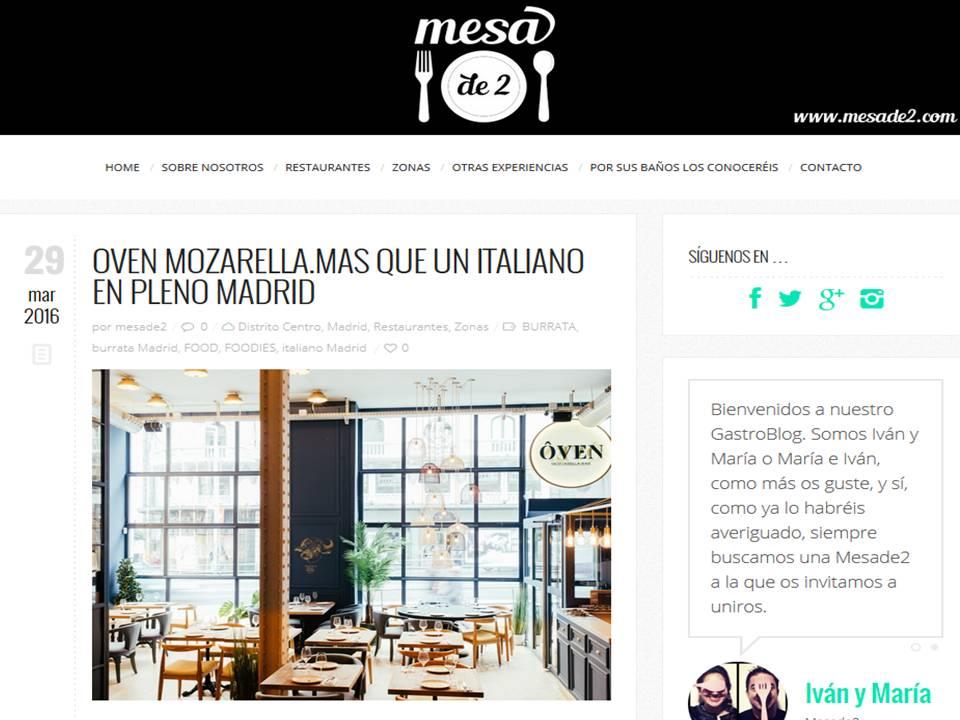 Oven más que un restaurante italiano en Madrid