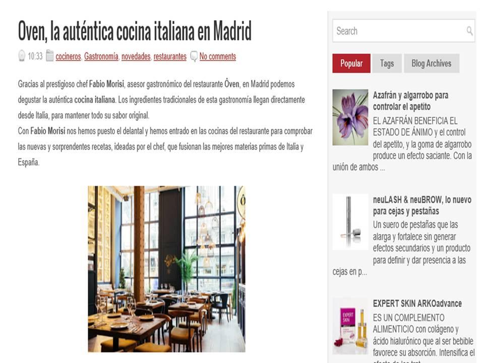 Ôven, la auténtica cocina italiana en Madrid.